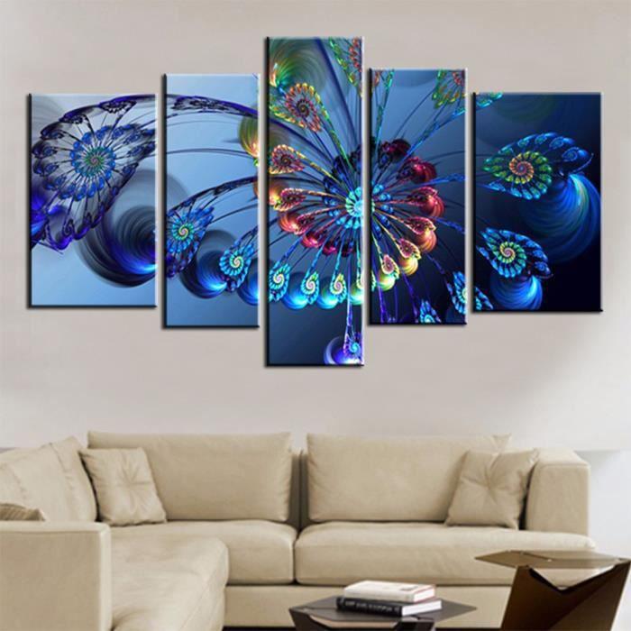 5 Panneaus Peinture Sur Toile Decoration Murale Salon Tableau