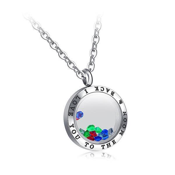 Glamorousky Pendentif simple cadre photo avec cristal autrichien coloré et collier (24382)
