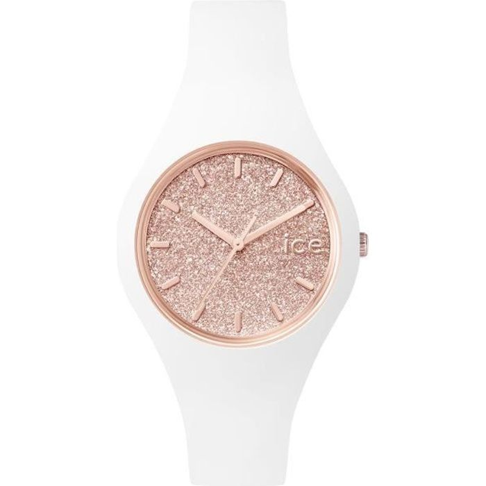 85f9ecd97d185f Montre Ice Watch GLITTER SMALL Blanc et Paillettes Or Rose Silicone ICE .GT.WRG.S.S.15
