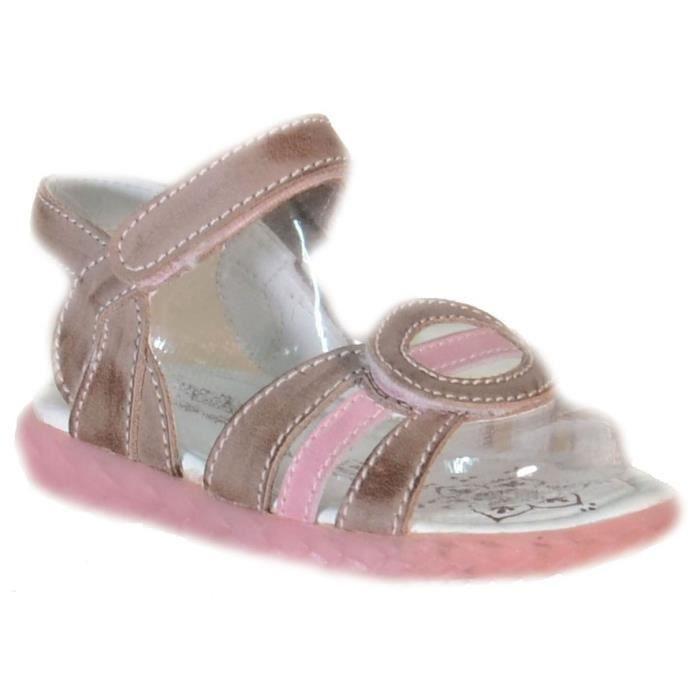 Primigi Sandales pour Filla Marron Rose Cuir Velcro 81555
