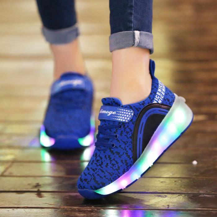 Avec Patinage Chaussures Enfants De Garçons Filles À Sneakers avec Chaussures LED Baskets Roues Roulettes Automatique Lumineuse RWn6Oqqpz