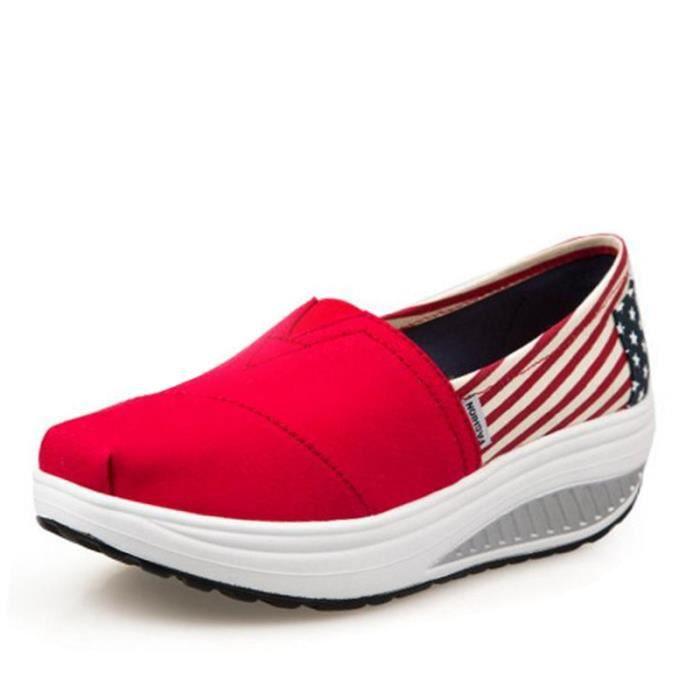 Chaussures Femmes Mode Detente Casual fond épais Chaussure DTG-XZ087Rouge38