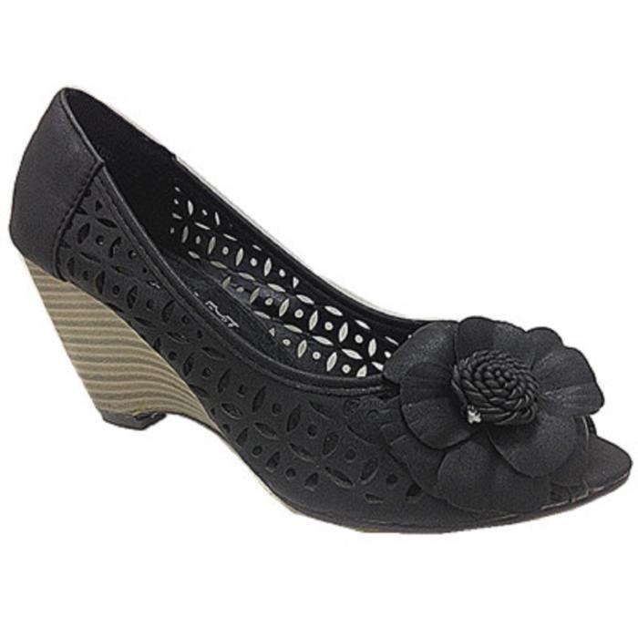 Femme K1002 Sandale Chaussures Talon Bout Fashionfolie888 Noir Ouvert Escarpins aqHaw