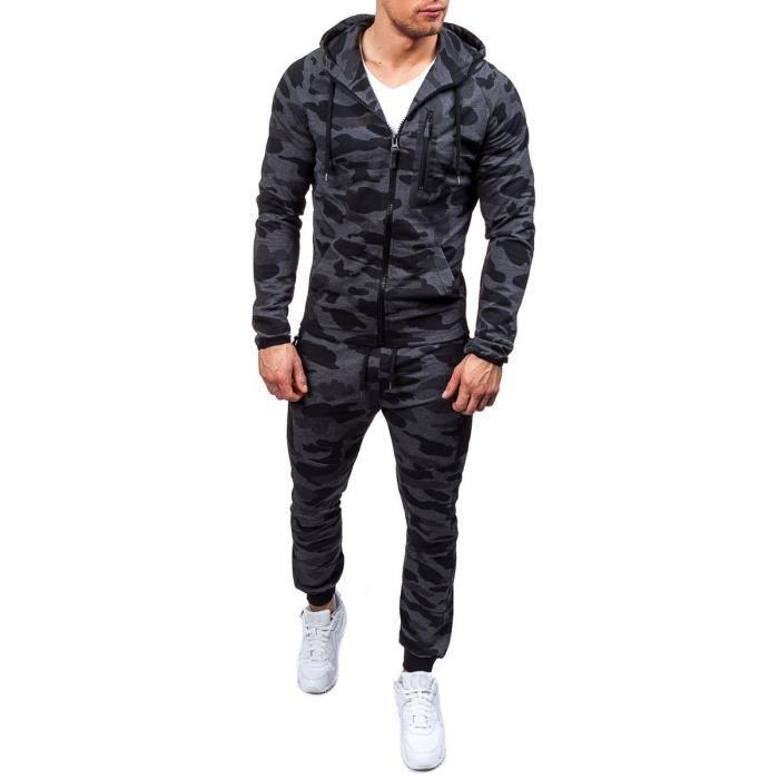 Ensemble Hommes Camouflage Survêtement Militaire 2 Pièces Ensemble GRIS  sweat à capuche 84233313609