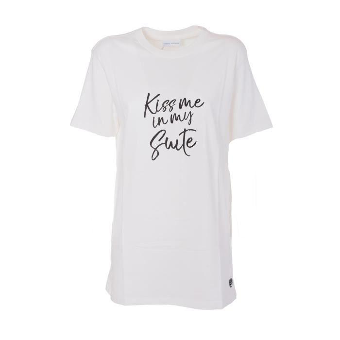Cft035offwhite Chiara Femme Coton T Ferragni Blanc shirt EEwfgaHqx