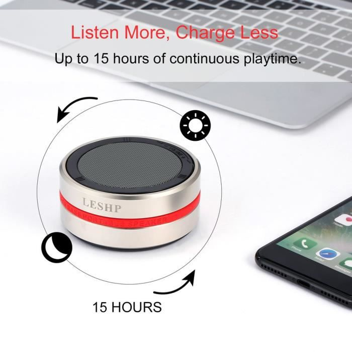 Leshp Haut-parleur Sans Fil Bluetooth Résonance Portable Technologie Basse Fréquence 360 Degrés Rotatif Type Or Et Argent Mode