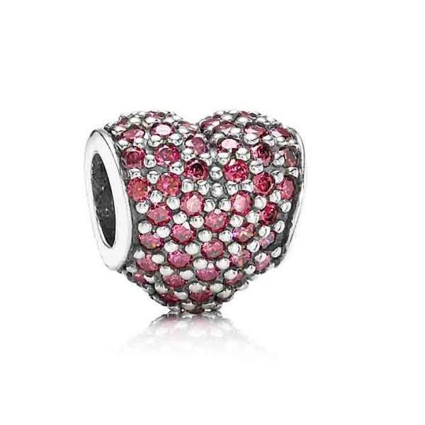 0a898bdbb33aab Charms argent PANDORA coeur pavage rouge 791052CZR - Achat   Vente ...
