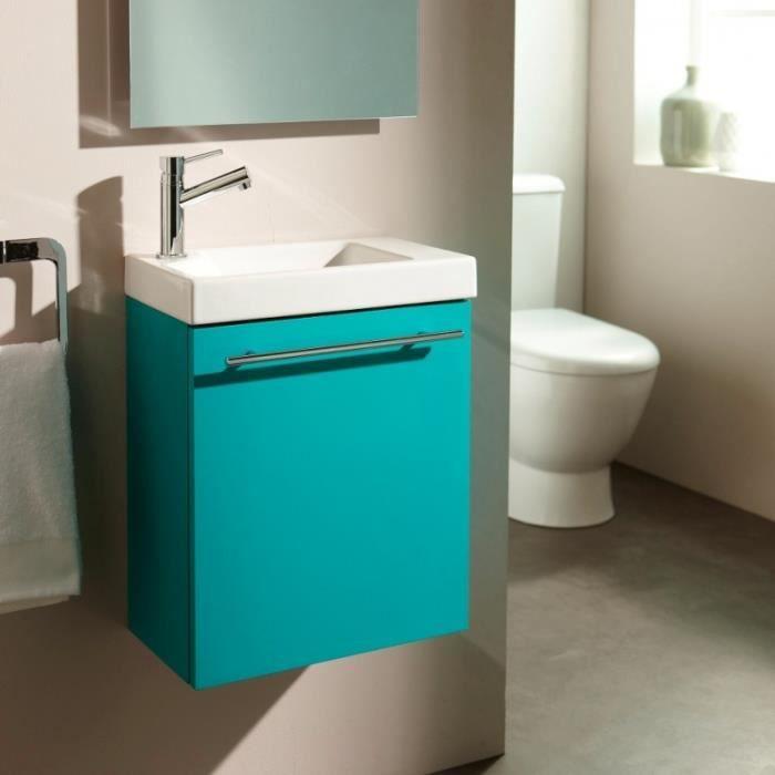 Lave mains complet pour wc avec meuble couleur vert lagon mitigeur eau chaude eau froide for Meuble lave main wc