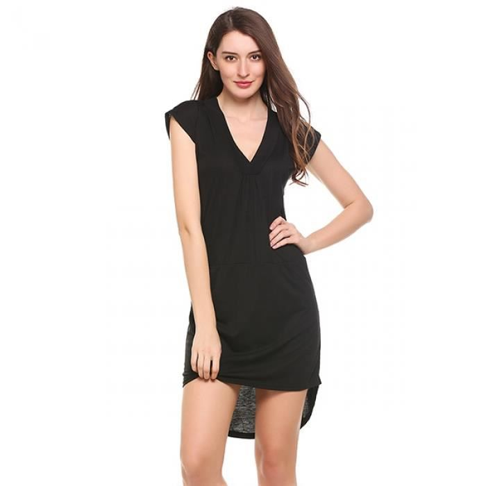 robe femmes sexy Ourlet bas haut solide poches occasionnel