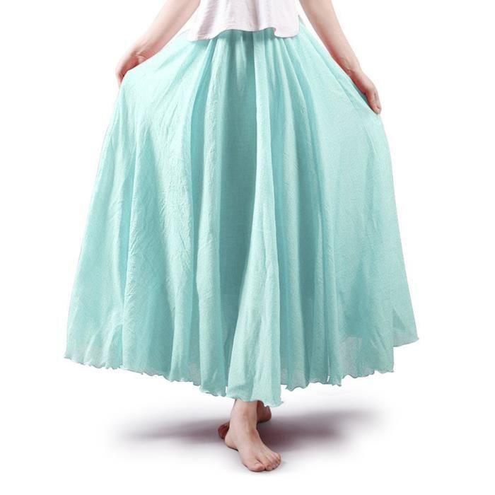 Elégante Femmes Minetom Plissée Elastique Chic En Longue Lin Jupe A Haute Taille ligne Maxi Casual FaSq6wad