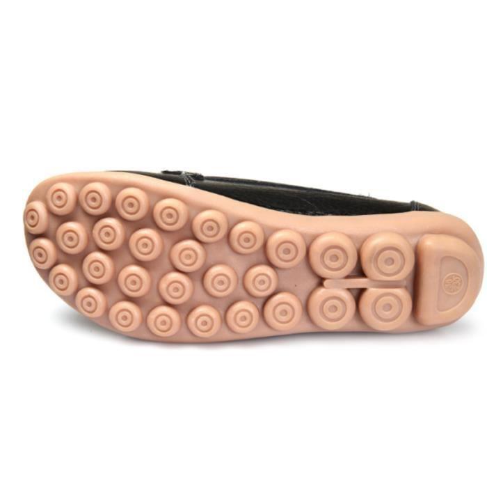 Mode Detente Chaussures Mocassin Classique Bmmj Noir rouge marron xz088rouge35 jaune orange Loafer Femmes SXqwtWt5