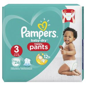 COUCHE Pampers Baby-Dry Pants Taille 3, 6-11 kg, 26 Couch