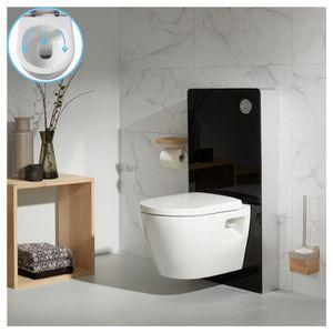 WC - TOILETTES Pack wc suspendu en verre noir avec cuvette sans b