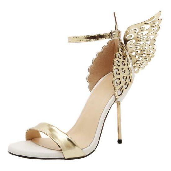 Mode Femmes Valentine Chaussures bronzants Paillettes Big bowknot Escarpin SandalesOr  Or - Achat / Vente escarpin