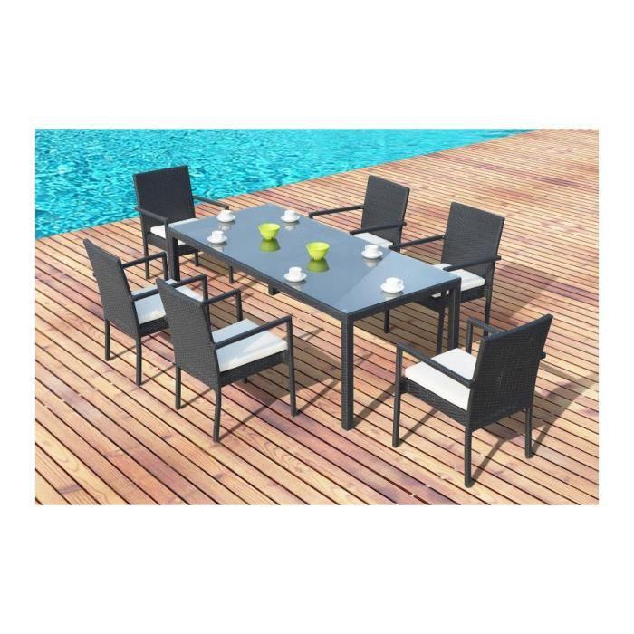 Magnifique salon de jardin lugano 6, table + 6 fauteuils en resine ...
