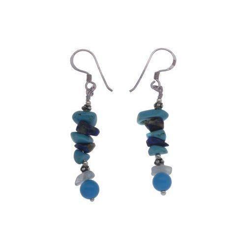 . Boucles doreilles pendantes. Femme. E-10305-. Argent. Sterling 1. Gr. Turquoise.…