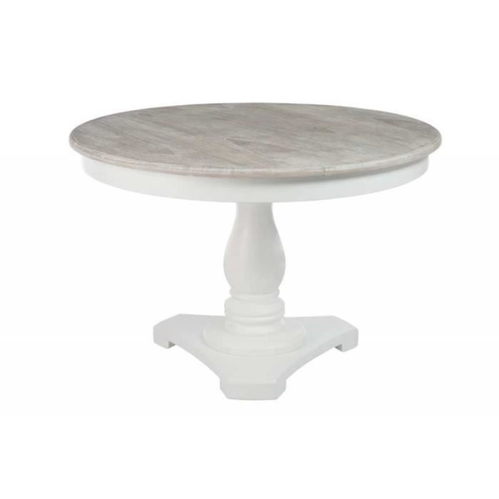 Table ronde blanche avec pied central plateau bois naturel for Table a manger ronde bois