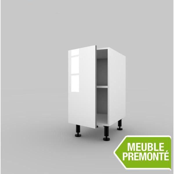 elements bas meuble bas 40cm 1 porte 70x40 cristal blanc
