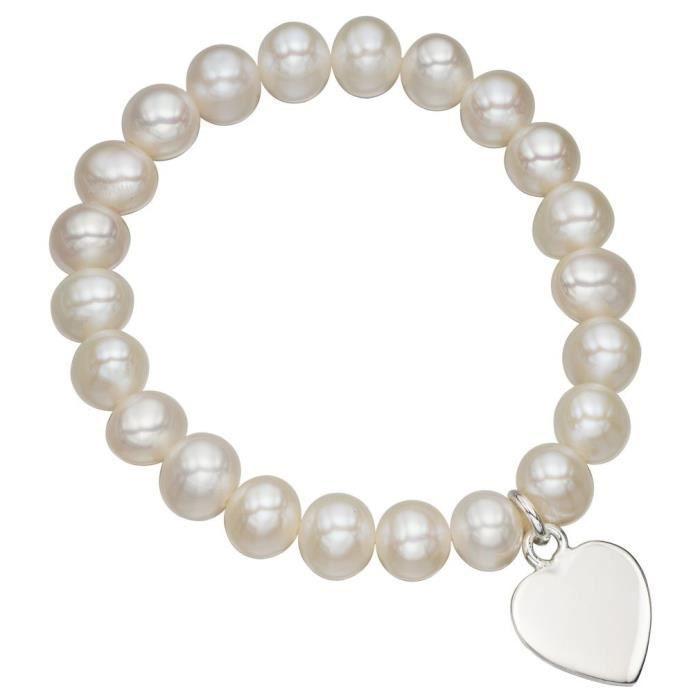 Mon-bijou - D4683 - Bracelet stretch coeur and perle en argent 925-1000