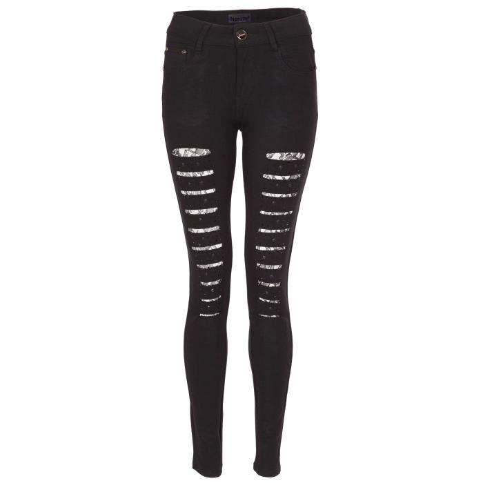 Croissance moyenne perle déchirer Jeans Pantalon pour Femme Noir 01 ... 8cc5087d7db2