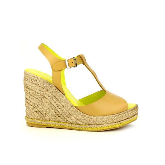 sandale - nu-pieds, Compensées Caramel Chaussures Femme, Cendriyon