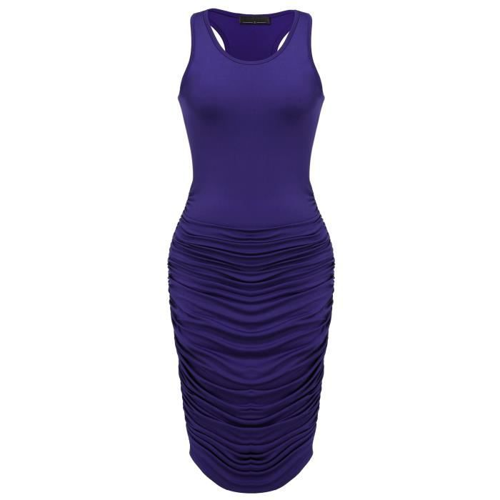 Womens Sexy Stretchy Ruched Bodycon Midi Slim Dress Casual Party Cocktail Dress 2L3UQX Taille-34