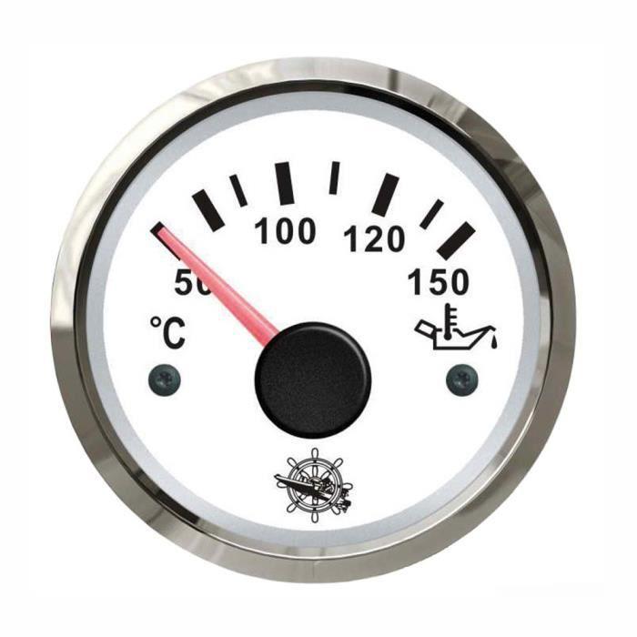 Indicateur de température dhuile - cadran blanc - lunette polie - 12/24V