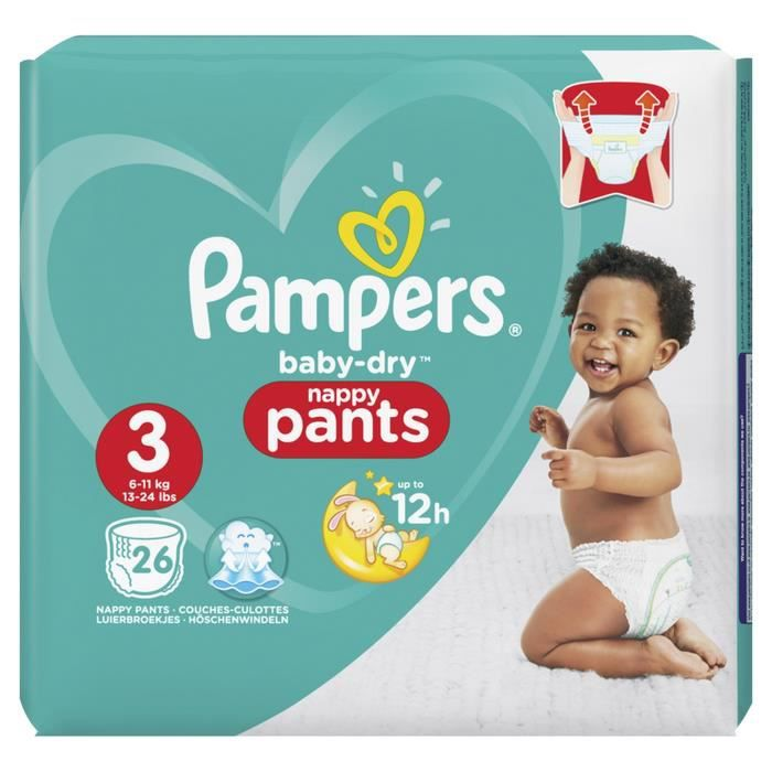 Pampers Baby Dry Pants Taille 3 6 11 Kg 26 Couches Culottes