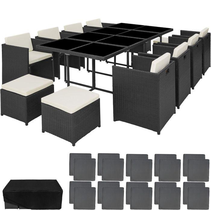 TECTAKE Salon de Jardin NOUVELLE ORLEANS Résine Tressée et Aluminium  Encastrable 1 Table 8 Fauteuils 4 Tabourets Noir + 1 Housse