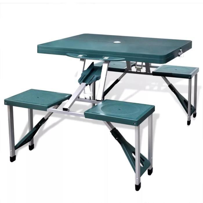 TABLE BASSE JARDIN  Ensemble table de camping pliable et chaises en al