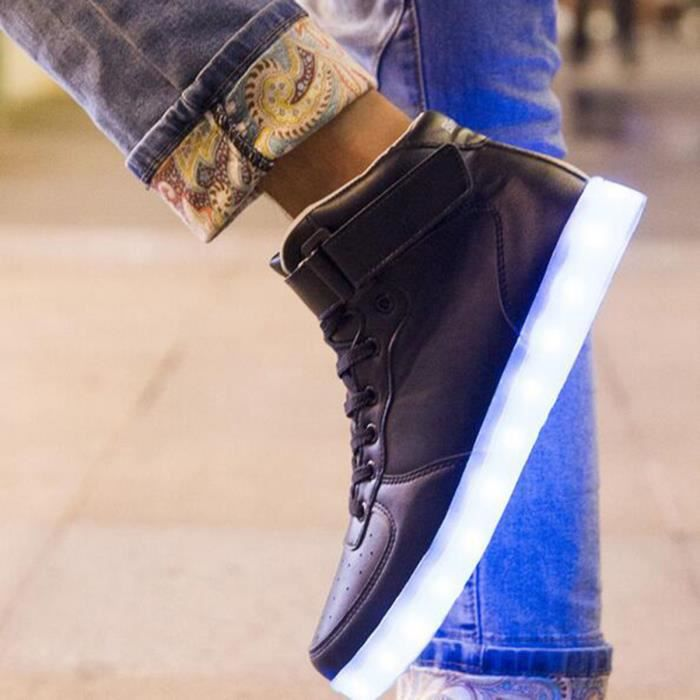Mode 7 couleurs de LED Lumineux USB de charge Flashing Lights Chaussures Couple Chaussures 36-46 Taille fPrQHa9Hu