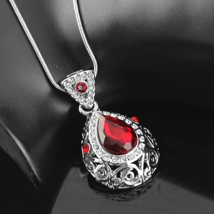 Parure ciselée cristal swarovski elements plaqué or blanc Couleur Rouge