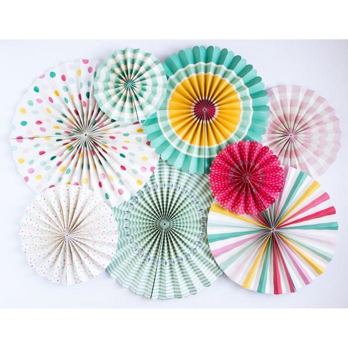 8 pcs fleur de ventilateur d'origami papier guirlande kit pour