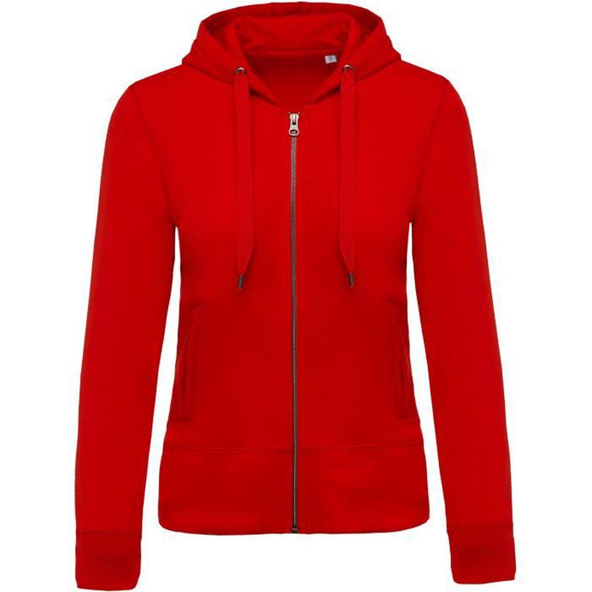 Zippé Achat Femme Sweat Shirt Capuche Rouge Bio Vente Red rshtCQd