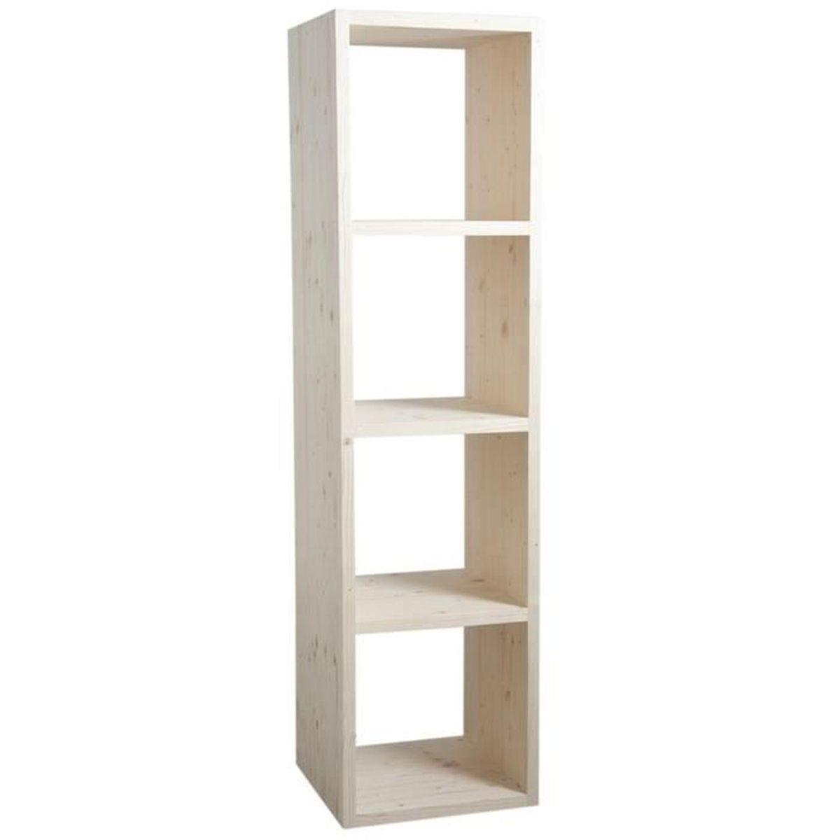 etag re 4 niches en pic a naturel dim 41 x 40 x 166 cm achat vente biblioth que etag re. Black Bedroom Furniture Sets. Home Design Ideas