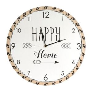 HORLOGE - PENDULE Horloge Murale bois 'Boho' beige (Happy Home) - 60