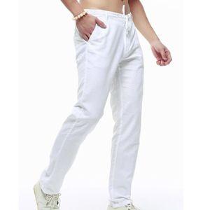 pantalon homme lin blanc achat vente pas cher. Black Bedroom Furniture Sets. Home Design Ideas