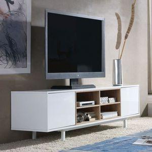 meuble tv meuble tv 2 portes 4 niches dyna l 160 x l 40 - Meuble Tv Avec Rangement Pas Cher