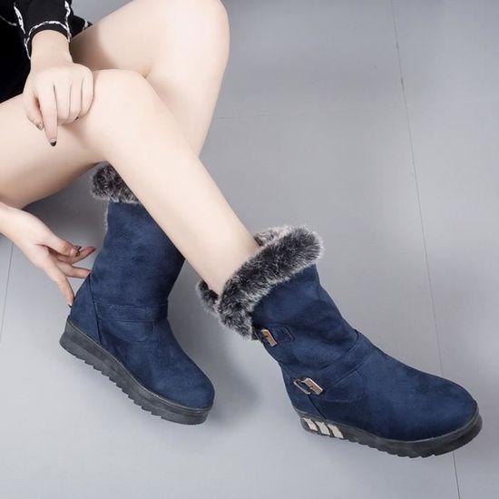 Bottes femme Slip-On doux Bottes de neige bout rond Bottes plates d'hiver de fourrure cheville @11 Bleu Bleu Bleu - Achat / Vente slip-on