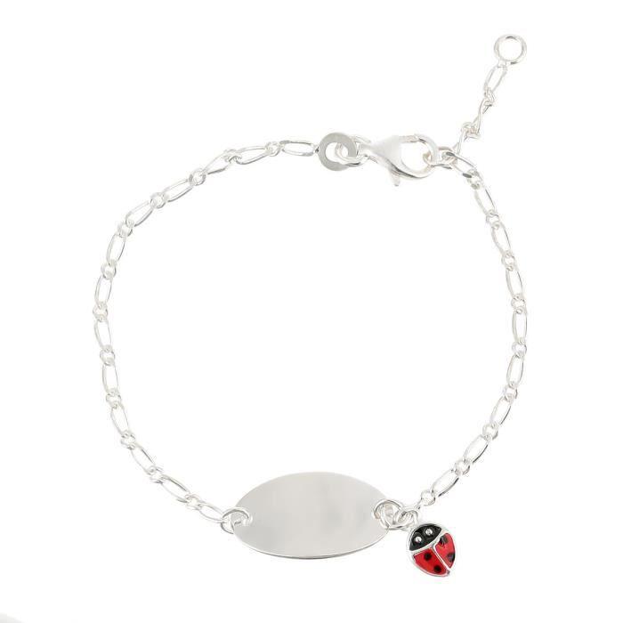 YSORA Bracelet Identité Argent 925° Pampille Coccinelle Email Enfant Mixte