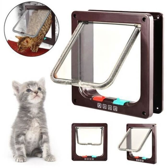 4-way Locking Cat Door, Pet Lockable Flap Door For Cats And Small Dogs With L2kq9
