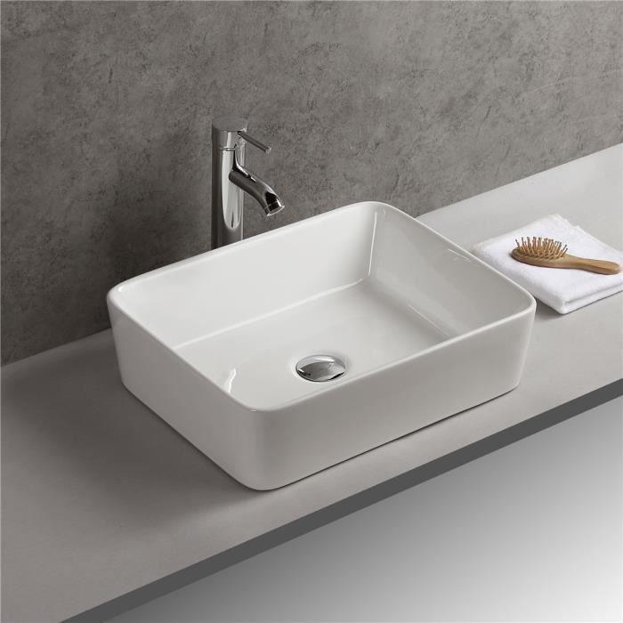 vasque lave main a poser Vasque à Poser Lave Main Ceramique Morderne Lavabo de Salle de Bain  38*48*13cm