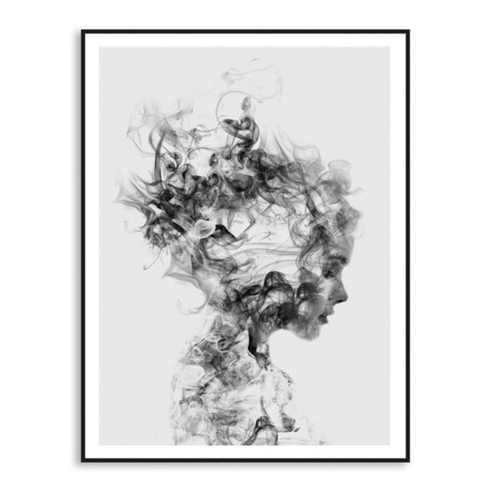 Abstraite noir blanc femme toile Art peinture murale décoration sans cadre  20 25cm-035 15a9b6041740