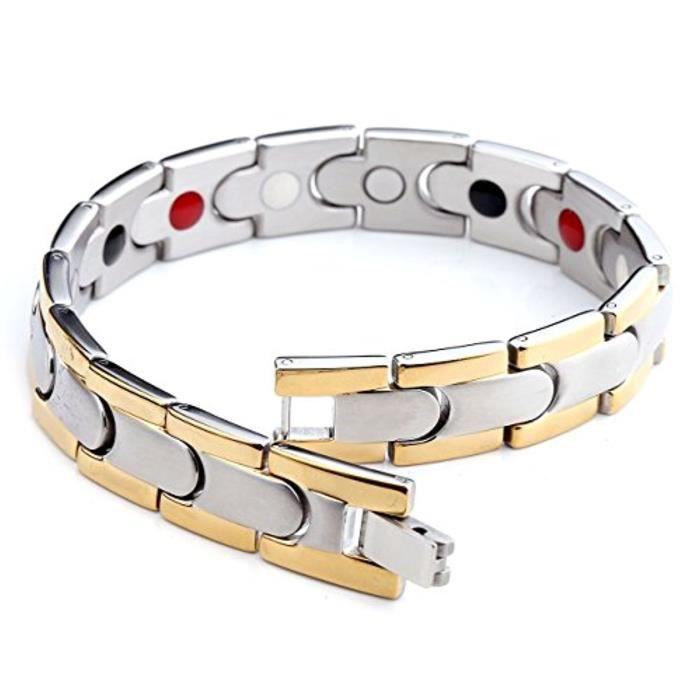 Bracelet Forme De Balle Doré & Argenté Acier Inoxydable Energie Avec Elements Anion Germanium Rayon Infrarouge Aimant