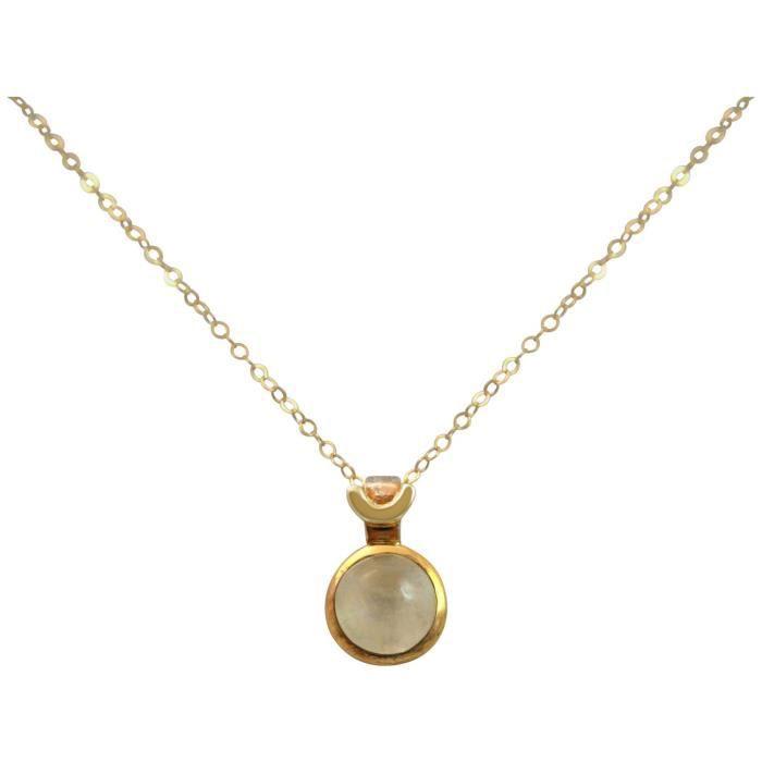 Gemshine - Femmes - Collier - 925 Argent - Or - Moonstone - Blanc - 10 mm