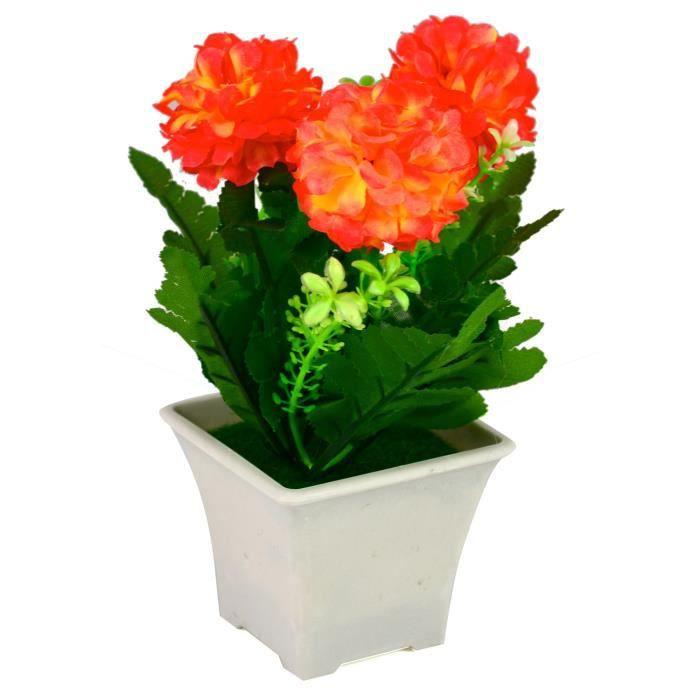 Pot De Fleur Artificielle 18x12 Cm Orange Achat Vente Fleur