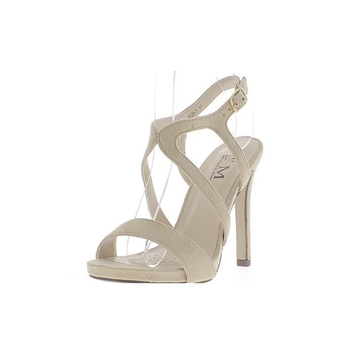 Sandales noires à talon fin de 11,5cm aspect daim fines brides