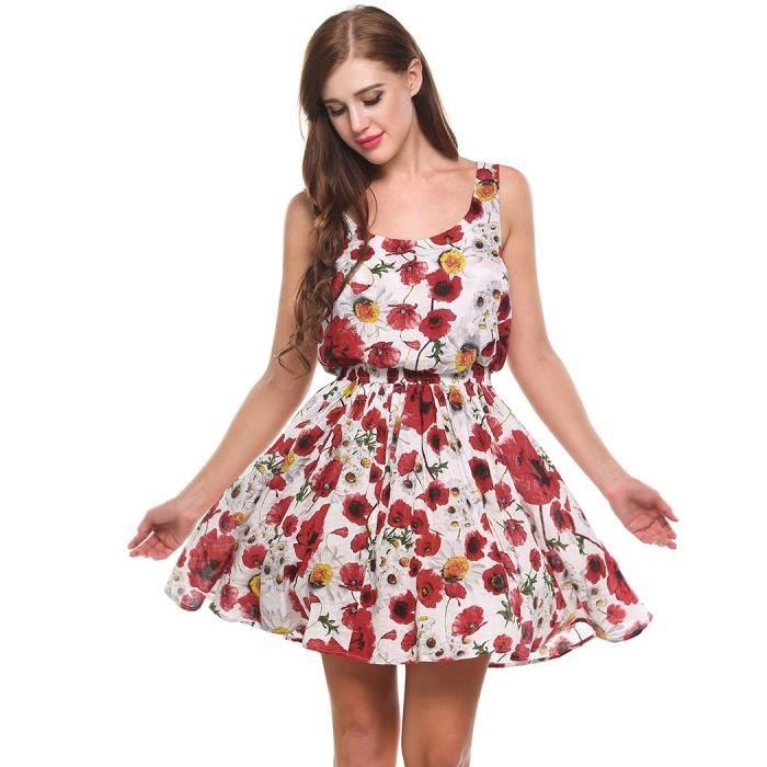 Mini robe Femmes sans manches grande taille Fit Floral et Flare