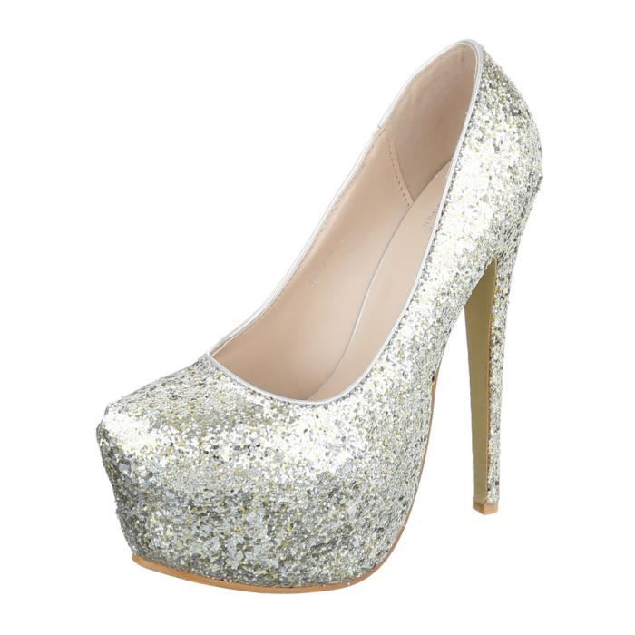Femme chaussures escarpin scintillement Plateau High Heels argent 39
