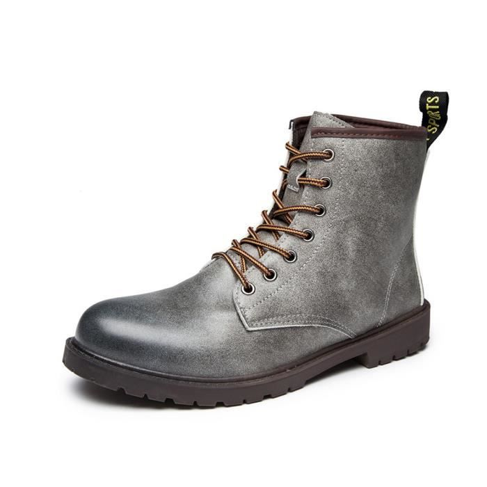 57a9b2761bc91 Minetom Automne Hiver Angleterre Cuir Chaussures Martin Bottes de ...